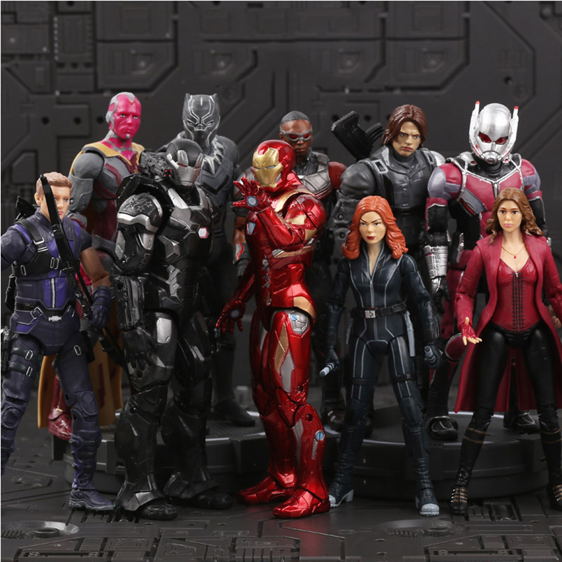 18cm Iron Man Captain America Black Panther Winter Soldier Ant-Man  Falcon Scarlet Witch Vision Hawkeye Action Figure Model Toys18cm Iron Man Captain America Black Panther Winter Soldier Ant-Man  Falcon Scarlet Witch Vision Hawkeye Action Figure Model Toys