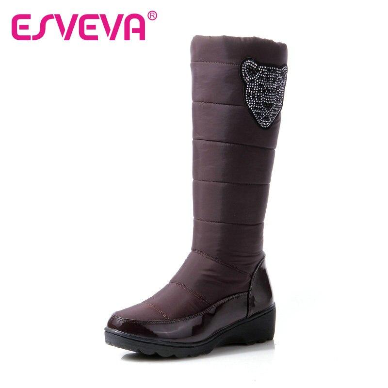 ФОТО ESVEVA Pu Patent Leather+Down Fashion Boots Round Toe Platform Rhinestone Slip On Short Plush Mid Calf Winter Women Shoes Black