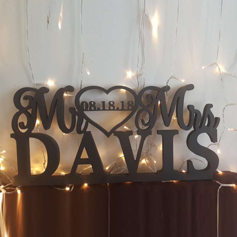Custom Wedding Table Logo And Surname Wedding Decorated With The Logo Of Mr. And Mrs.