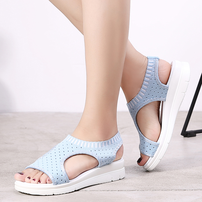 HTB13fTzNbvpK1RjSZPiq6zmwXXaG Wild Elastic Belt Sports Sandals Summer New Women's Shoes Women's Thick Bottom Fish Mouth Mesh Sandals Drop Shipping