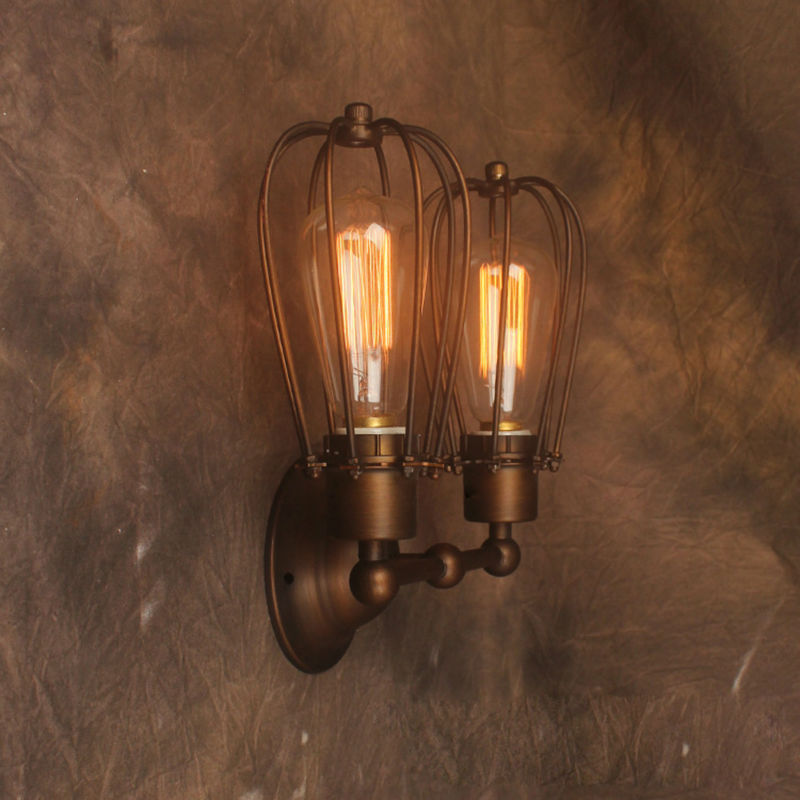American Style Vintage Wall Lamp Industrial Edison Lamps E27*2pcs Beside Mounted Art Deco RH Loft Lighting For Home Kitchen Bar  free shipping brass finished e27 industrial edison wall lamp antique copper vintage beside lighting ac90 250v for bedroom