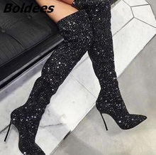 New Arrival Bling Bling Crystal Over The Knee Slim Fit Long Boots Glittering Metal Thin High Heel Thigh High Boots Dress Shoes цены