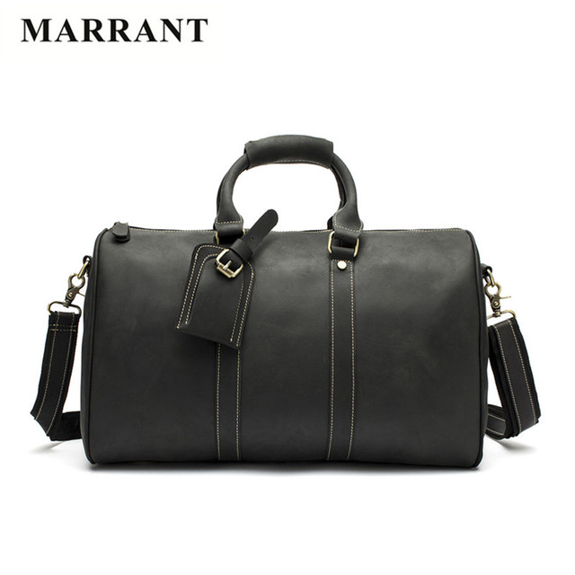 MARRANT Vintage Crazy Horse Genuine Leather Travel bags Business Men Messenger Handbags Large Capacity Men Leather Crossbody Bag