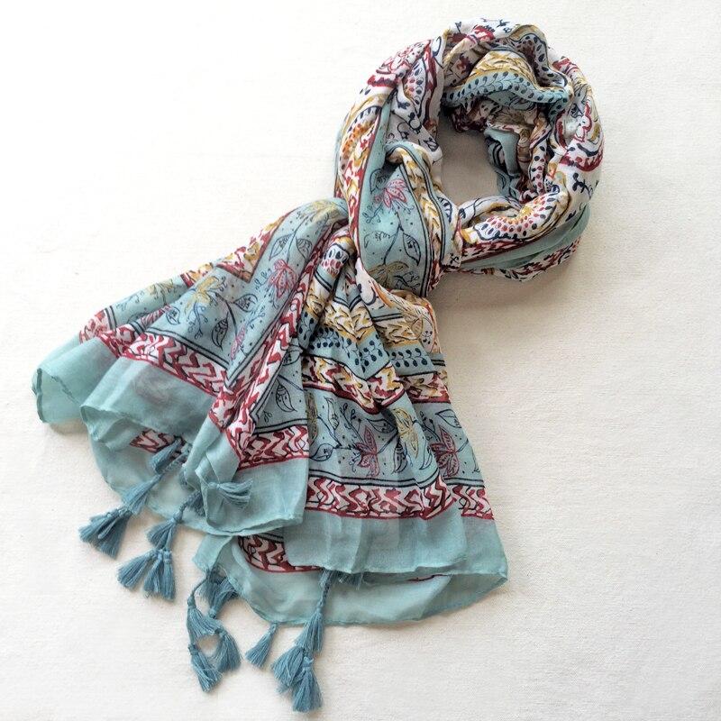 Cheshanf Women Viscose Scarf Ethnic Floral Long Shawl Large Size Thin Warm Pashm
