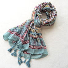Cheshanf Women Viscose Scarf Ethnic Floral Long Shawl Large Size Thin Warm Pashmina Green Tassels Neck Wear Brand New