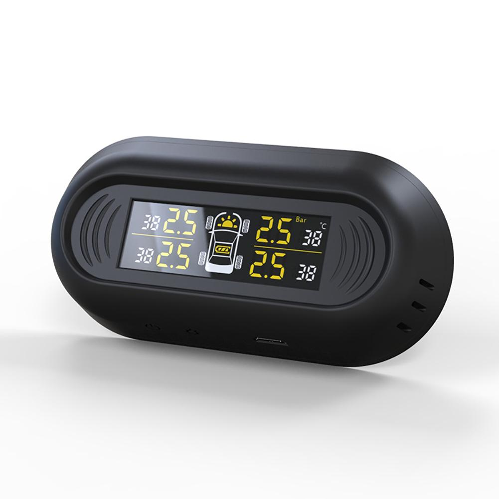 Jauge de pression des pneus LCD jauge de pression d'air des pneus véhicule énergie solaire Auto testeur de compteur de pneu de voiture
