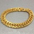 7 ММ широкий двойной снаряженная кубинский браслет-цепочка для мужчин реального желтое золото заполнено панк хип-хоп браслет 20 см