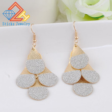 New Style Gold Drop Dangle Earrings with Full Crystal Luxury Bridal Wedding Jewelry Earring Wholesale