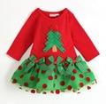 Бесплатная доставка 6 шт./лот девочка рождество празднование платье марка качество и короткими рукавами красное платье