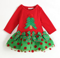 Free shipping 6 pieces/lot Baby Girl Christmas Celebrating Dress brand quality long and short sleeves red dress