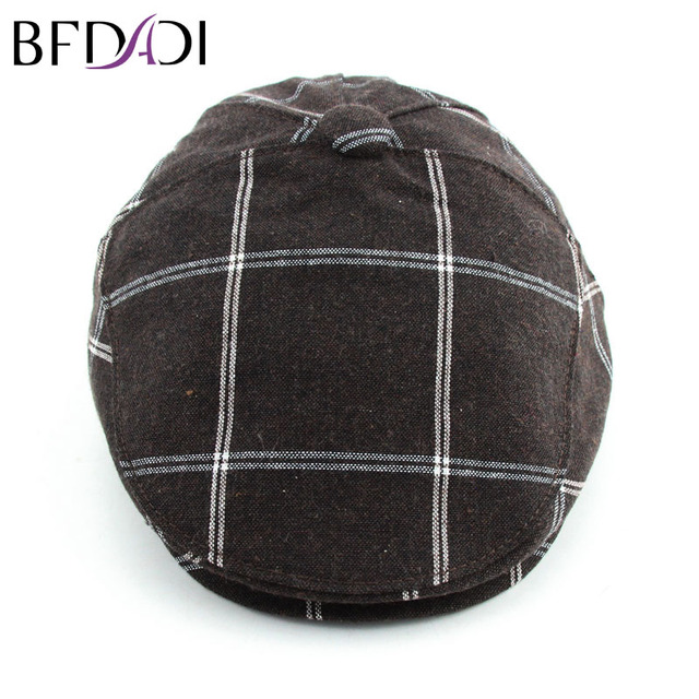 c3a81f5a3b1 BFDADI 2017 Fashion Men s Flax Striped Attice Cabbie Newsboy Cap Driving  Hat Accessories Big Size 60cm