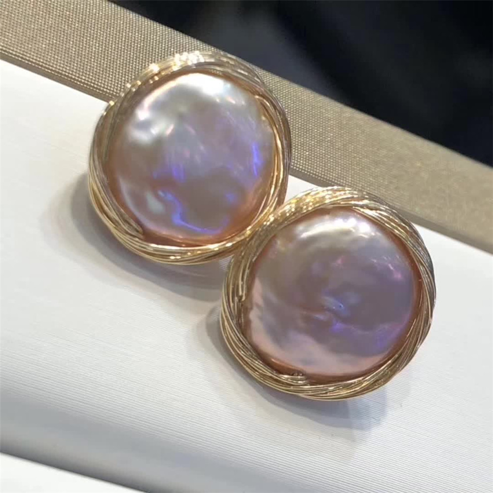hand made fine jewelry factory fashionable 14k gold wrap natural white pearl gemstone stud earring 1