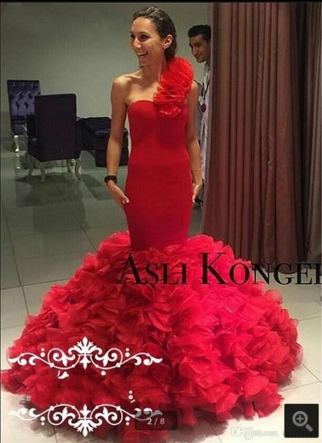 red ruffle trumpet prom dress