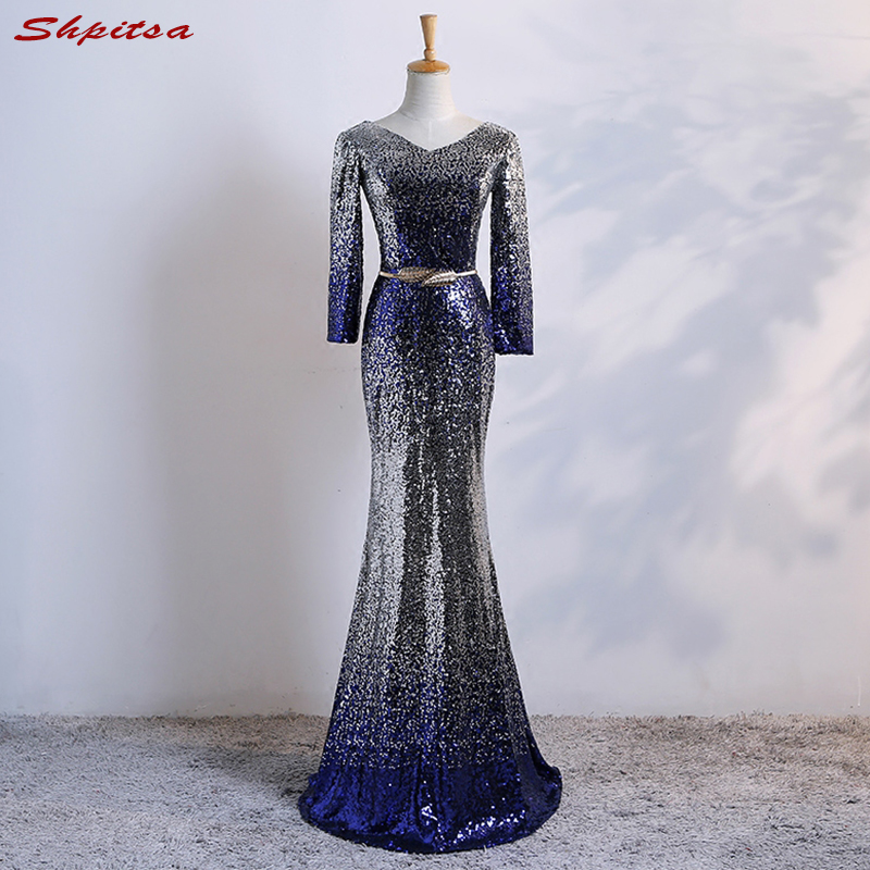 Luxury Long Sleeve Mermaid Evening Dresses Party Dubai Sequin Beautiful Women  Prom Formal Evening Gowns Dresses 2c69b8388683