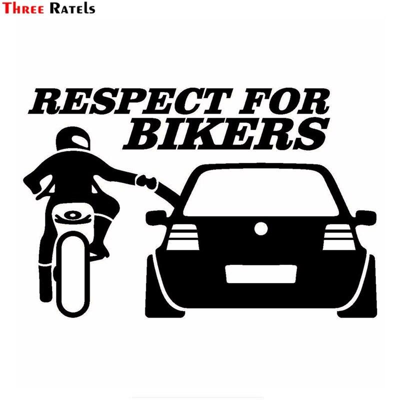 все цены на Three Ratels TZ-1430 13x20cm respect for bikers car stickers funny auto sticker decals онлайн