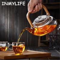 INMYLIFE Bamboo Handle 800ml Blooming Tea Pot with Glass Strainer Safe Dishwasher Safe Stove Safe Teaset Kettle Heat Resistant