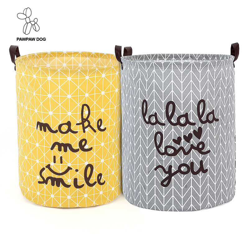 Cotton Linen Fabric Foldable Cartoon Bathroom Dirty Clothes Large Laundry Storage Buckets Bags Kids Toy Storage Basket 2 colors