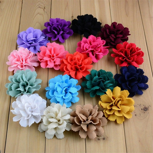200pcs/lot 17 Color U Pick 3 Inch Handmade Ballerina Chiffon Burlap Flowers Garment Hair Accessories Wholesale Supply FH59