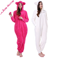 JuiceMate Plus Size Fluffy Fleece Hooded Onesie Jumpsuit Overall Pyjama Set With Animal Ears Winter Warm Pajama Onesie For Women