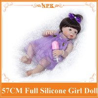 22inch NPK 57CM Reborn Baby Doll Lifelike Full Body Silicone Nice Purple Dress Bebe Reborn Menina Toy Kids Playmate Xmas Gift