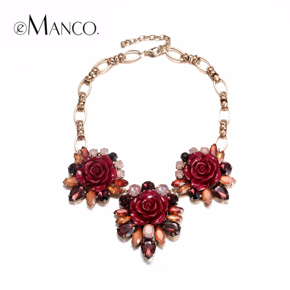eManco Garden Style Stylish Romantic Rose Flower Statement Necklaces for Women Red Resin & Crystal & Korea Chain Fashion Jewelry