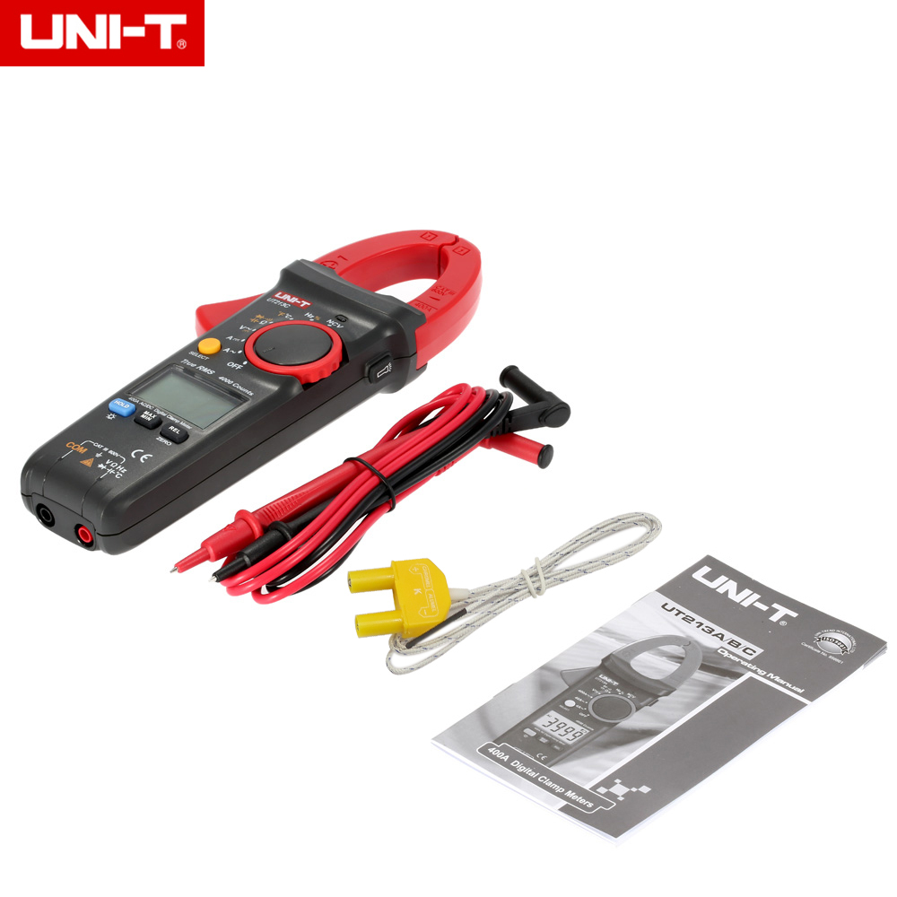 UNI-T UT213C Digital Clamp Meter Multimeter AC/DC 400.0A Voltage Current Resistance Capacitance Diode Continuity NCV Temperature uni t ut213a ut213b ut213c digital lcd clamp meter multimeter ac dc voltage current resistance capacitance diode continuity ncv