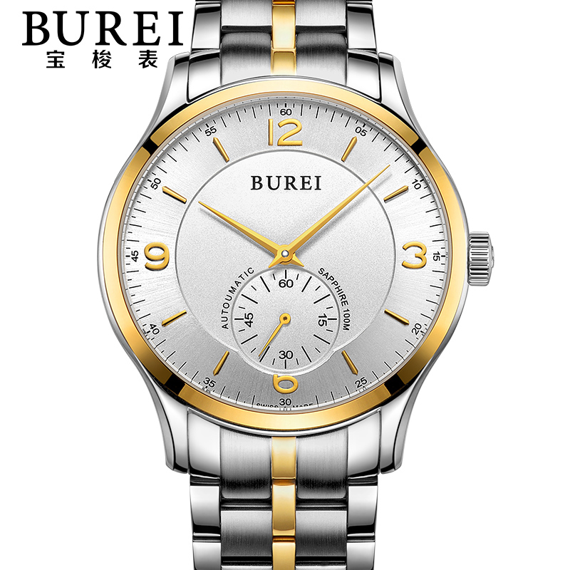 BUREI Luxury Crystal Sapphire Lens Men Automatic Mechanical Watch Waterproof Male Wristwatches With Premiums Package 15001 burei brand crystal sapphire men sports automatic mechanical watch waterproof male wristwatches with premiums package 15009
