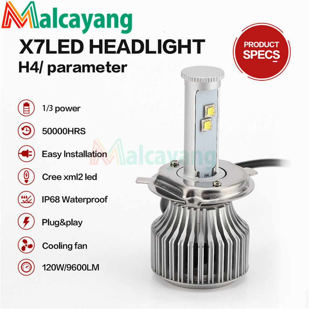 X7 High Brightness H4 LED Car Headlight Lamp 120W 9600LM High Low Beam Auto Front Headlamp Replacement Light Bulb Kit 12V 24V