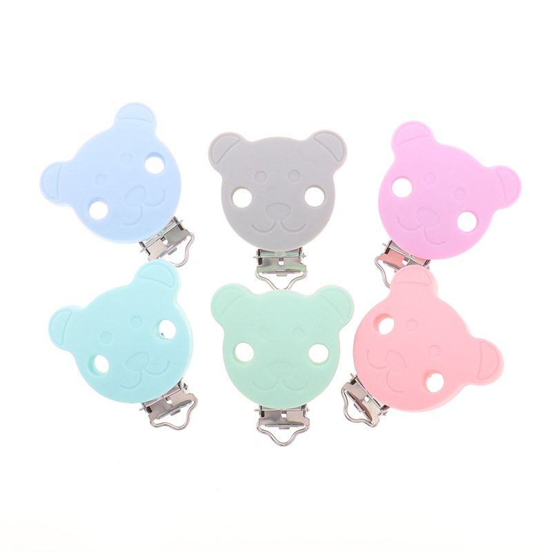 10PC Silicone Bear Clip Rodent BPA Free Baby Teether Nipple Clasps Teething Necklace Pacifier Chain Holder Accessories Dummy DIY