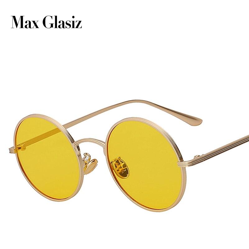 Max glasiz Sunglasses Vintage Retro Mulheres Rodada Óculos de Lente Amarela Óculos de Armação de Metal Revestimento Eyewear gafas de sol mujer