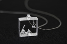 925 Sterling Silver Rectangle Cat Necklace