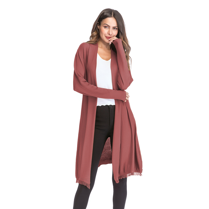 Kostlich 2018 Women Solid Color Tassel Long Knitted Cardigans Casual Open Stitch V Neck Full Sleeves Cardigans M-XL (8)
