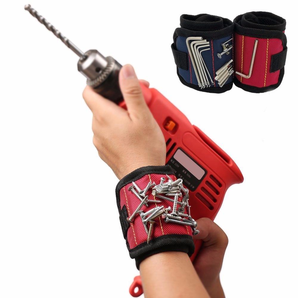ポケットスーパーマグネットリストバンドツール調整可能なツールリストバンドネジ用釘ナットボルトハンドフリードリルビットツールホルダー
