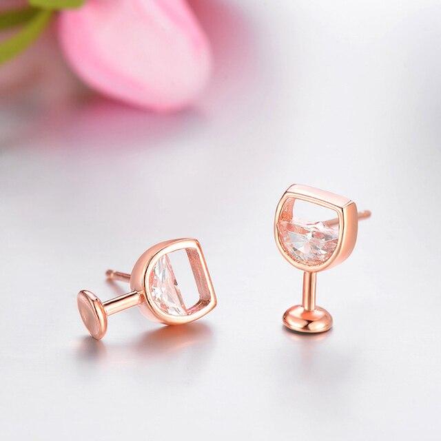 Moda simples brincos femininos oco vidro de vinho cúbico zircônia orelha brincos brincos jóias presentes 5