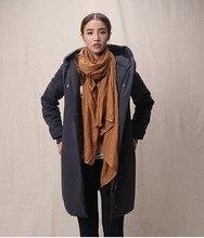 Европа стиль 2015 новая мода куртка причинно с длинным рукавом в шляпе женский тонкий тонкий горячая девушка продажи страйт толщиной длинное пальто Y004