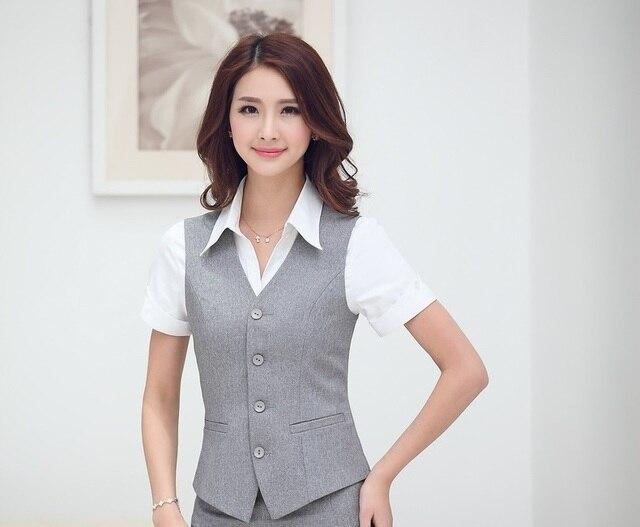 d4305e9443e New Elegant Grey Business Women Blazers Female Vest Coat Tops Jackets  Waistcoat 2015 Summer Formal Outwear Blaser Feminino