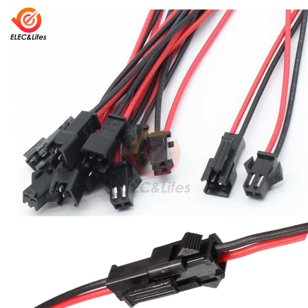 5 Pairs 10CM/15CM/30CM JST SM 2 Pin 3mm Connector Plug Male To Female Connectors Cable Wires for LED Strips Lamp Driver