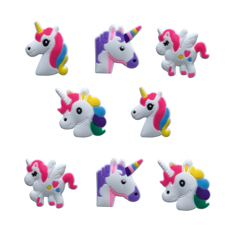 8pcs/lot Unicorn PVC Cartoon Shoe Charms Buckles Accessories Fit For Croc JIBZ Kids Xmas Party Gifts Christmas Decoration