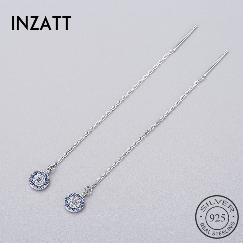 INZATT Bohemia Geometric Round Blue Zircon Dangle Drop Earrings Long Chain Tassel Charm Women Wedding Fashion Jewelry 2018 Gift