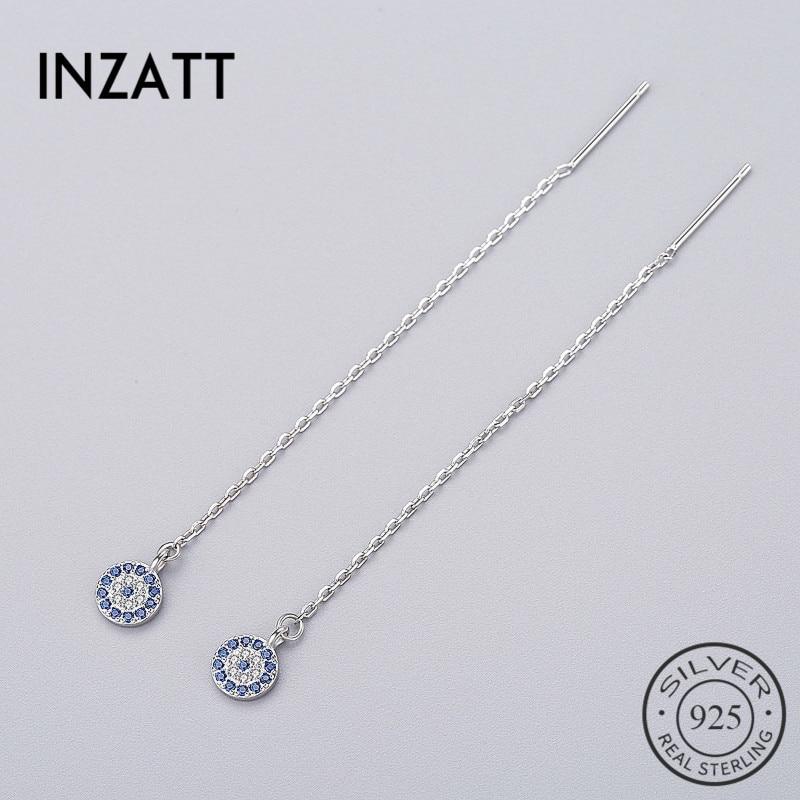 INZATT Bohemia Geometric Round Blue Zircon Dangle Drop Earrings Long Chain Tassel Charm Women Wedding Fashion Jewelry 2018 Gift