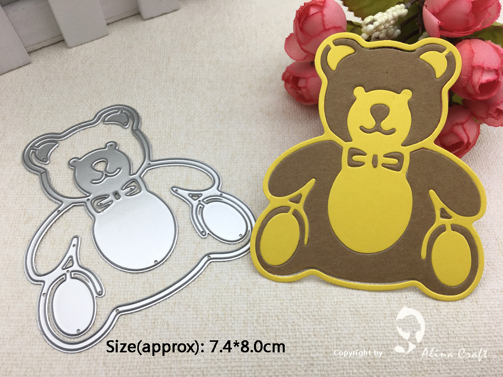 Puppy Carrying A Bear Doll Metal Cutting Dies Stencils For Scrapbooking Paper Ca