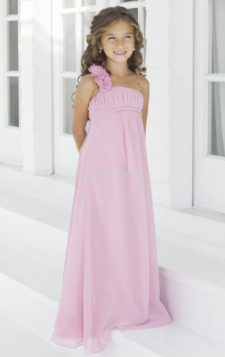 Online get cheap one shoulder children bridesmaid dress charming pink maid of honour dresses vestidos long chiffon children bridesmaid dresses junior bridesmaid dress party gown n62 ombrellifo Choice Image