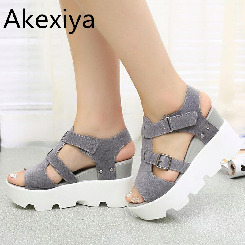 Akexiya Summer Sandals Shoes Women High Heel Casual Shoes footwear flip flops Open Toe Platform Gladiator Sandals Women Shoes young people young people all at once