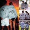 Casal Camisola Do Hoodie O Rei e A Rainha Dele-Amor Combinando Camisas 2016 Novos Amantes Das Mulheres Dos Homens Casal de Manga Longa roupas