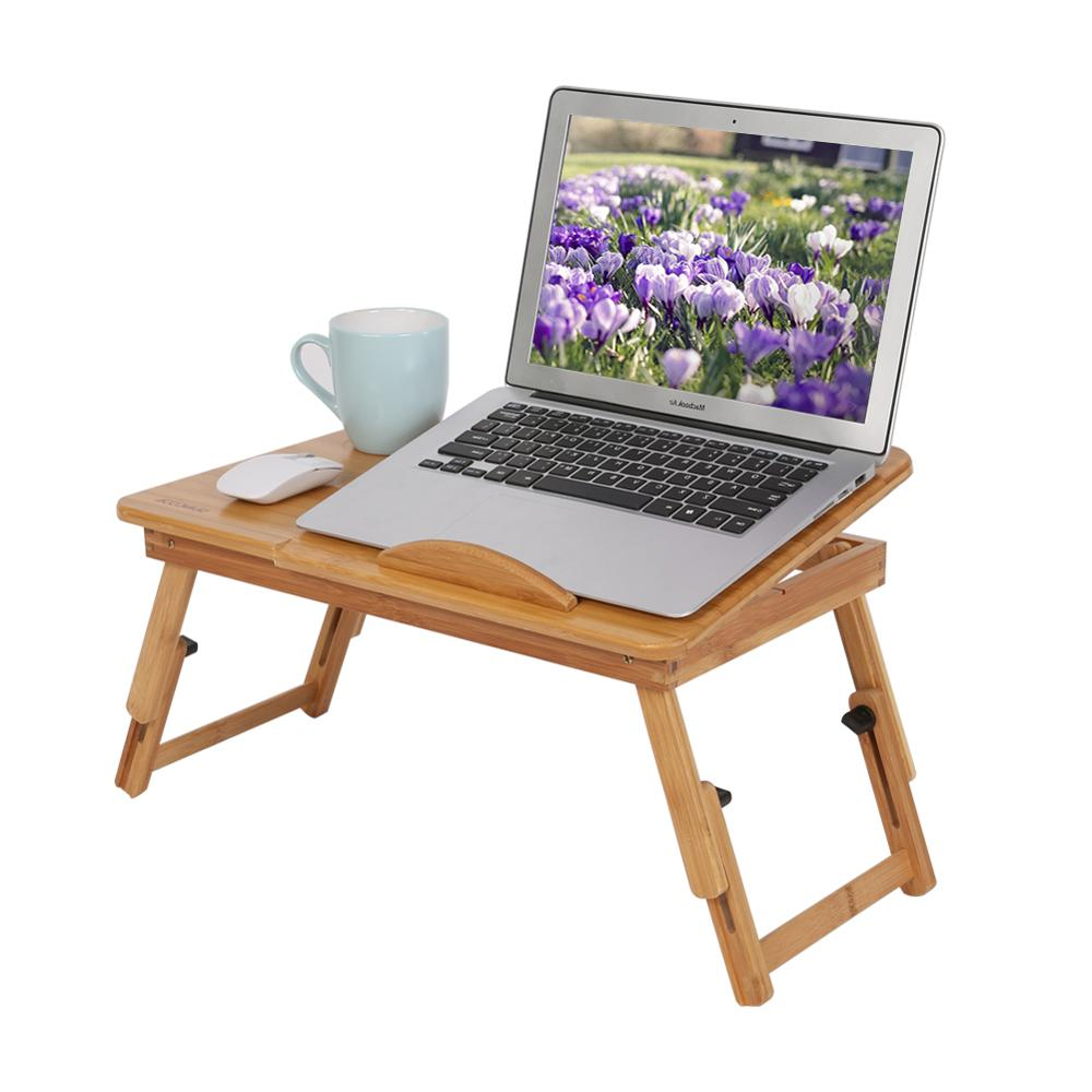 1Pcs Adjustable Bamboo Rack Shelf Dormitory Bed Lap Desk Two Flowers Book Reading Tray Laptop Stand