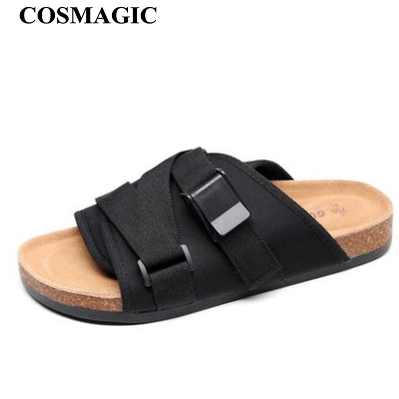 COSMAGIC 2019 Fashion Men Beach Cork Slippers Summer Hook Loop Non slip Outside EVA Leather Slide
