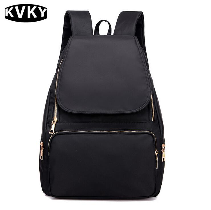KVKY Fashion Women nylon Backpack Waterproof Women Bag Preppy Style Backpack Girls School Bags Zipper Shoulder Womens Back Pack