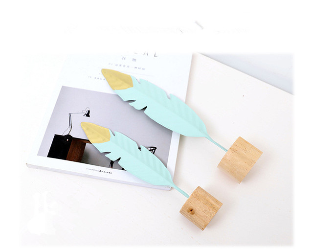 1PC New Nordic Modern Ornaments Metal Wooden Craft Feather Modeling Pen Sculpture Living Room Miniature Home Decoration JL 256 5