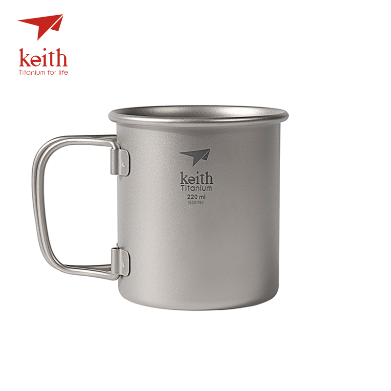 все цены на Keith Outdoor Folding Titanium Water Mugs Drinkware Camping Cups No Lid Ultralight Portable Outdoor Travel Mug 40g 220ml Ti3200