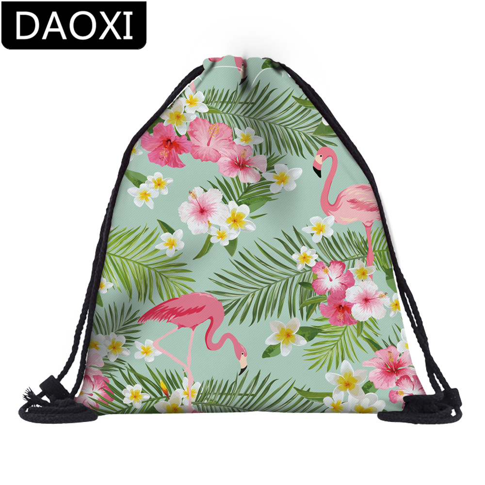DAOXI 3D Printing Flamingos Flowers Colorful Drawstring Bag Mochila Feminina Girls Travel School Bag DX60079